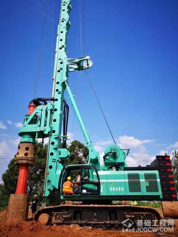 上海金泰SH46A 成功挑战旋挖钻机套管跟进工艺施工极限深度