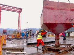 官新高速马路口资水特大桥6#主塔桩基施工完成